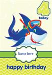 Scuba Shark 4th Birthday - Personalised Card