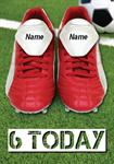 Football Boots 6th Birthday - Personalised Card