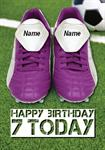 Football Boots 7th Birthday - Personalised Card