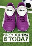 Football Boots 8th Birthday - Personalised Card