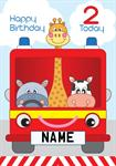 Fire Engine 2nd Birthday - Personalised Card
