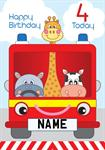Fire Engine 4th Birthday - Personalised Card