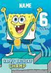 Sponge Bob 6th Birthday -  Personalised Card