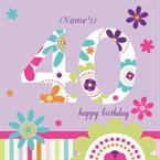 40th Birthday - Personalised Card