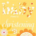 Yellow Flowers Christening Day - Personalised Card