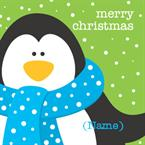 Merry Christmas Penguin - Personalised Card