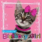 Kitten Birthday Girl - Personalised Card