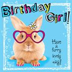 Rabbit Furry Birthday - Personalised Card