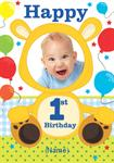 1st Birthday Cute Bear - Personalised Photo Card
