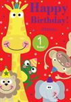 1st Birthday Zoo Animals - Personalised Card