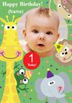 1st Birthday Zoo Animals - Personalised Photo Card