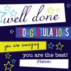 Well Done Congratulations - Personalised Card