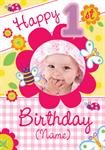 1st Birthday Summer Garden - Personalised Photo Card