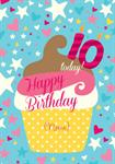 Giant Cupcake Happy 10th Birthday - Personalised Card