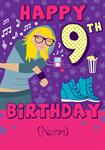 Hip Girl Happy 9th Birthday - Personalised Card