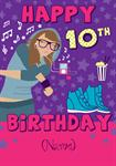 Hip Girl Happy 10th Birthday - Personalised Card