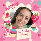 Ice Cream Parlour 13th Birthday - Personalised Photo Card