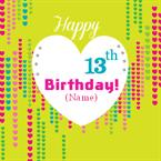 Hearts13th Birthday - Personalised Card