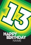 Glowing Green 13th Birthday - Personalised Card