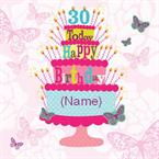 30th Birthday Cake - Personalised Card