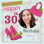 Happy 30th Handbag & Shoes - Personalised Photo Card