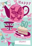 50th Birthday Tea Party - Personalised Card