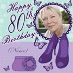 80th Birthday Shoes & Handbag - Personalised Photo Card