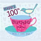 Cup and Bird 100th Tea - Personalised Photo Card