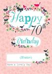 70th Happy Birthday - Personalised Card