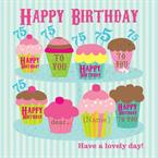 Cupcakes Happy 75th Birthday - Personalised Photo Card