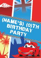 Cars Party Personalised Invites
