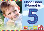 Choo Choo 5th - Personalised Photo Invites