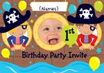 1st Birthday Party Pirates - Personalised Photo Invites