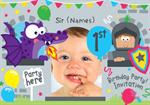 1st Birthday Party Knights & Dragons - Personalised Photo Invites