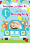 1st Birthday Party Cute Car - Personalised Photo Invites