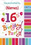 16th Birthday Party - Personalised Invites
