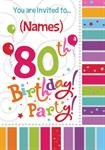 80th Birthday Party - Personalised Invites