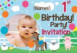 1st Birthday Party Farm Yard - Personalised Photo Invites