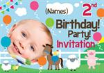 2nd Birthday Farm Yard -  Personalised Photo Invites