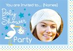 Baby Shower Blue Stork Delivery - Personalised Photo - Invites