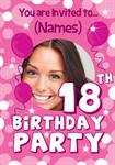 18th Birthday Party - Personalised Photo Invites