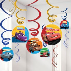 Disney Cars Party Decorations - Hanging Swirls