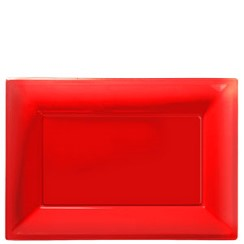 Red Serving Platters - 23cm x 32cm Plastic