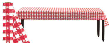 Red Gingham Table Roll - 30m Plastic