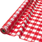 Red Gingham Plastic Banqueting Roll - 30m