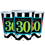 30th Birthday Cups - 255ml Paper Party Cups