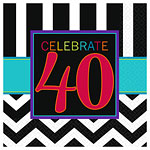 40th Birthday Beverage Napkins - 3ply Paper