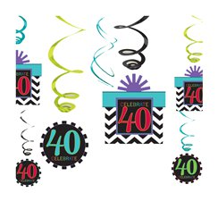 40th Birthday Hanging Swirls - 60cm Party Decorations