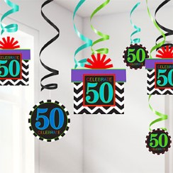 50th Birthday Hanging Swirls - 60cm Party Decorations