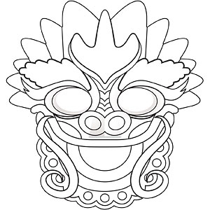 chinese new year dragon mask coloring page coloring pages